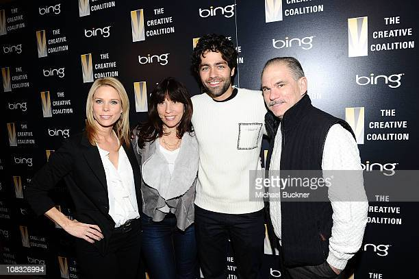 Actress Cheryl Hines Robin Bronk of Creative Coalition actor and producer Adrien Grenier and teacher Henry Shifman attend The Creative Coalition's...