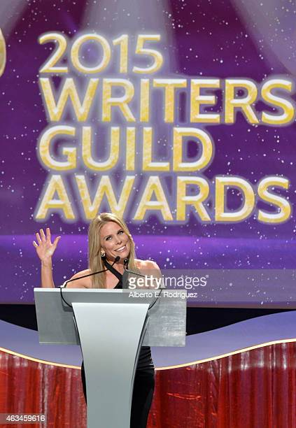 Actress Cheryl Hines speaks onstage at the 2015 Writers Guild Awards L.A. Ceremony at the Hyatt Regency Century Plaza on February 14, 2015 in Century...