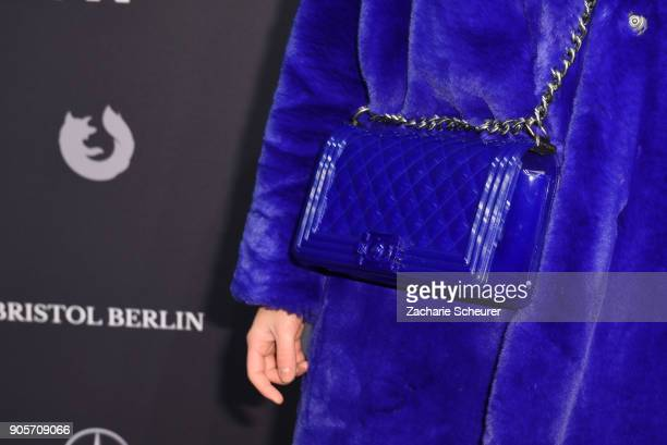 Actress Cheyenne Pahde bag detail attends the Riani show during the MBFW Berlin January 2018 at ewerk on January 16 2018 in Berlin Germany