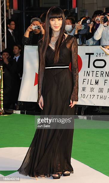 Actress Chiaki Kuriyama attends the 26th Tokyo International Film Festival Opening Ceremony at Roppongi Hills on October 17 2013 in Tokyo Japan