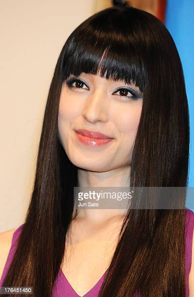 Actress Chiaki Kuriyama attends the 'Star Trek Into Darkness' stage greeting at Toho Cinemas Roppongi on August 13 2013 in Tokyo Japan