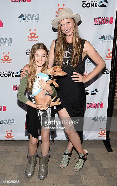 Actress Chiara Aurelia and musician Molly Swenson enjoy the 'More Than a Cone' art auction and campaign launch benefiting Best Friends Animal Society...