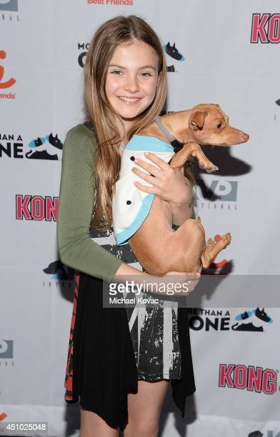 Actress Chiara Aurelia enjoys the 'More Than a Cone' art auction and campaign launch benefiting Best Friends Animal Society in Los Angeles where...