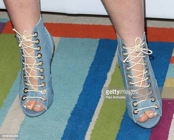 Actress Chiara Aurelia Shoe Detail attends the Shop With The Stars event at Bloomingdale's on December 10 2016 in Century City California