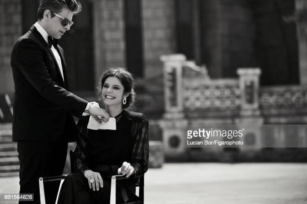 Actress Chiara Mastroianni and singer/songwriter Benjamin Biolay are photographed for Madame Figaro on April 5 2017 in Rome Italy Biolay Tuxedo shirt...