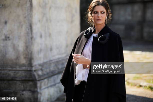 Actress Chiara Mastroianni is photographed for Madame Figaro on April 5 2017 in Rome Italy Cape blouse skirt earrings and ring PUBLISHED IMAGE CREDIT...