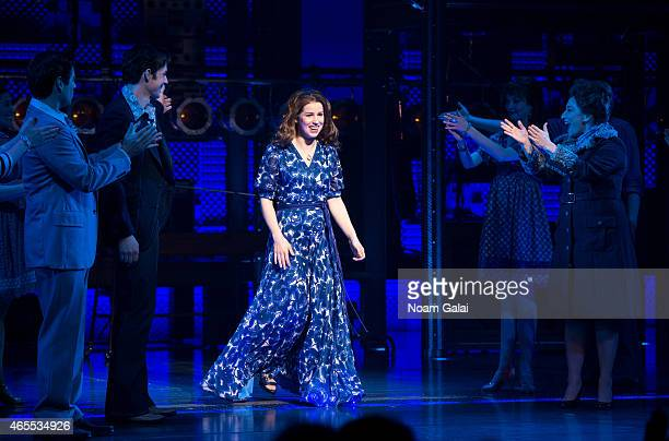 Actress Chilina Kennedy performs for the first time with the cast of 'Beautful The Carole King Musical' at Stephen Sondheim Theatre on March 7 2015...