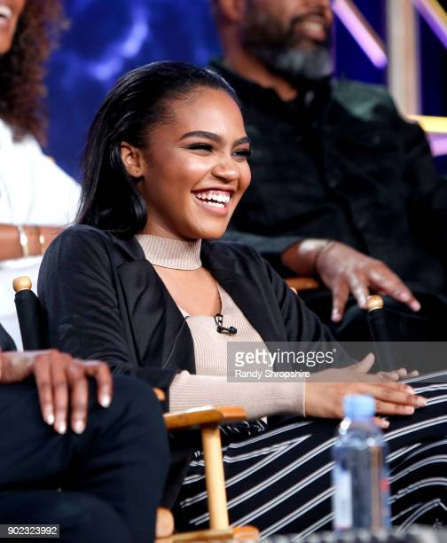 Actress China Anne McClain of the television show 'Black Lightning' speaks on stage during the CW portion of the 2018 Winter Television Critics...