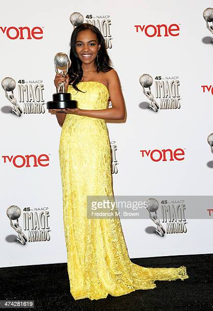 "Actress China Anne McClain, winner of the Outstanding Performance In A Youth/Children Series Or Special award for ""A.N.T. Farm"", poses in the press..."