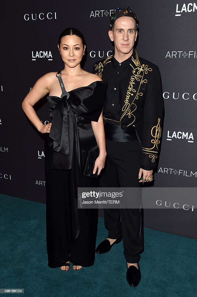 Actress China Chow (L) and designer Jeremy Scott attend LACMA 2015 Art+Film Gala Honoring James Turrell and Alejandro G Iñárritu, Presented by Gucci at LACMA on November 7, 2015 in Los Angeles, California.