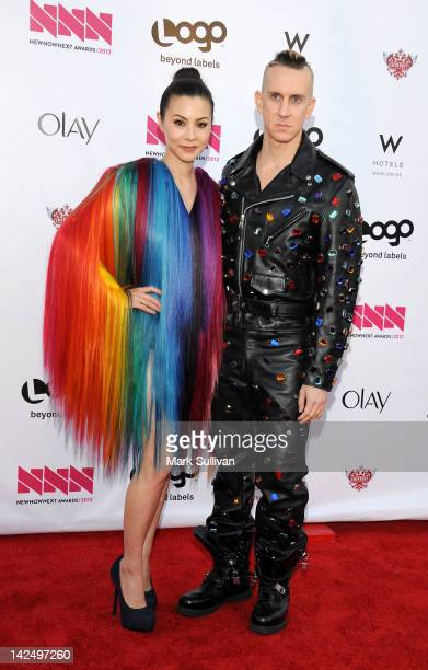 Actress China Chow and fashion designer Jeremy Scott arrive for LOGO's 2012 'NewNowNext' Awards at Avalon on April 5 2012 in Hollywood California