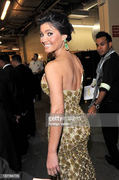Actress Chiquinquira Delgado poses backstage at the 12th Annual Latin GRAMMY Awards held at the Mandalay Bay Events Center on November 10 2011 in Las...