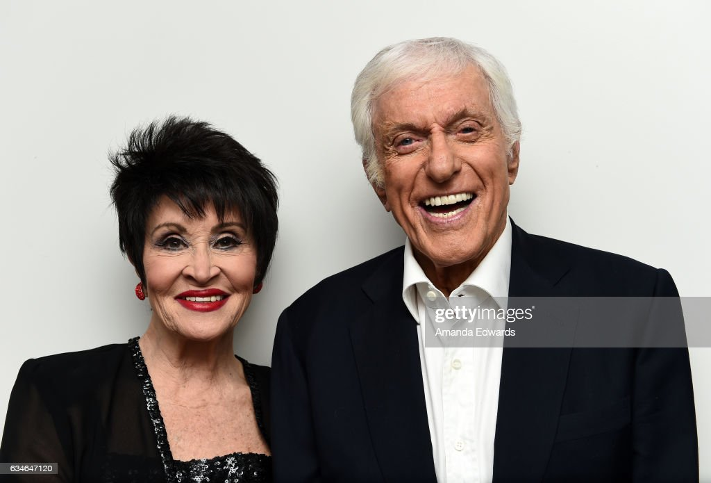 Actress Chita Rivera (L) and actor Dick Van Dyke pose backstage before performing together at The Eli And Edythe Broad Stage presentation of 'Chita: A Legendary Celebration' at The Broad Stage on February 10, 2017 in Santa Monica, California.