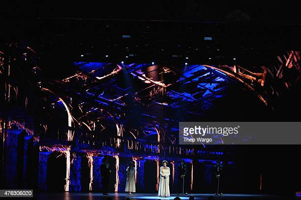 Actress Chita Rivera and the cast of 'The Visit' perform onstage at the 2015 Tony Awards at Radio City Music Hall on June 7 2015 in New York City