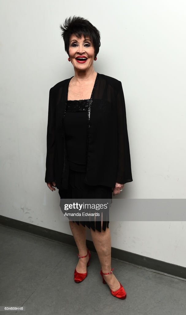 Actress Chita Rivera poses backstage before performing onstage at The Eli And Edythe Broad Stage presentation of 'Chita: A Legendary Celebration' at The Broad Stage on February 10, 2017 in Santa Monica, California.