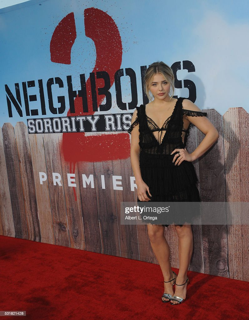 Actress Chloë Grace Moretz arrives for the Premiere Of Universal Pictures' 'Neighbors 2: Sorority Rising' held at Regency Village Theatre on May 16, 2016 in Westwood, California.