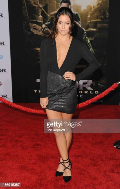 Actress Chloe Bennet arrives at the Los Angeles Premiere Thor The Dark World at the El Capitan Theatre on November 4 2013 in Hollywood California
