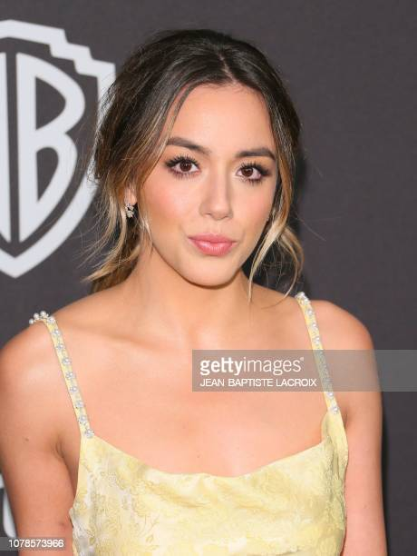 US actress Chloe Bennet arrives for the Warner Bros and In Style 20th annual post Golden Globes party at the Oasis Courtyard of the Beverly Hilton...