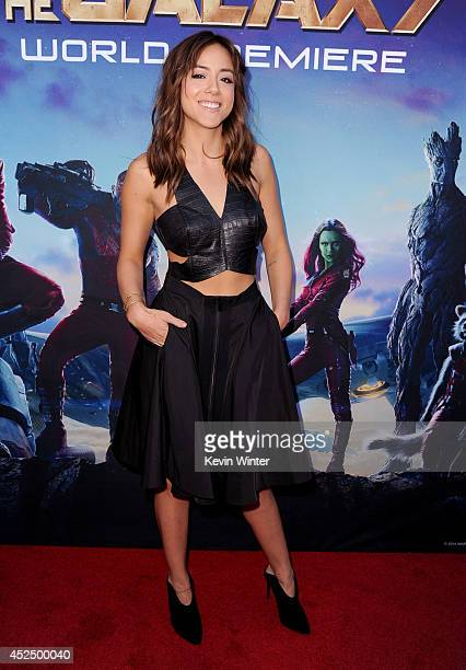 """Actress Chloe Bennet attends the premiere of Marvel's """"Guardians Of The Galaxy"""" at the Dolby Theatre on July 21, 2014 in Hollywood, California."""