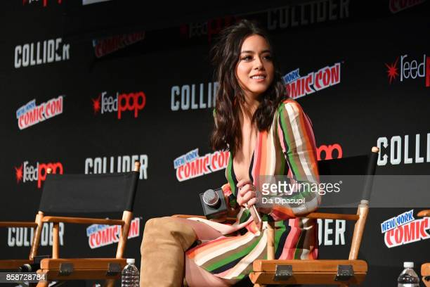 Actress Chloe Bennet speak at the Marvel's Agents of S.H.I.E.L.D. Panel during 2017 New York Comic Con - Day 3 on October 7, 2017 in New York City.