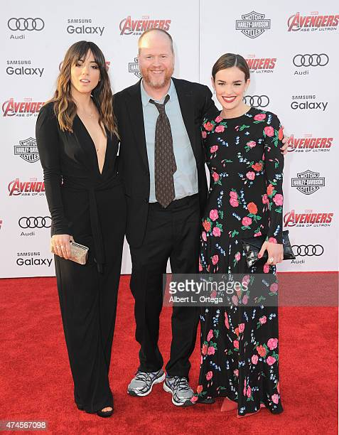 Actress Chloe Bennett director Joss Whedon and actress Elizabeth Henstridge arrive for the Premiere Of Marvel's 'Avengers Age Of Ultron' held at...
