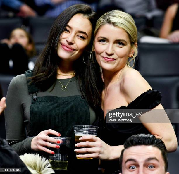 Actress Chloe Bridges and Brittney Berault attend a basketball game between the Los Angeles Clippers and the Utah Jazz at Staples Center on April 10...