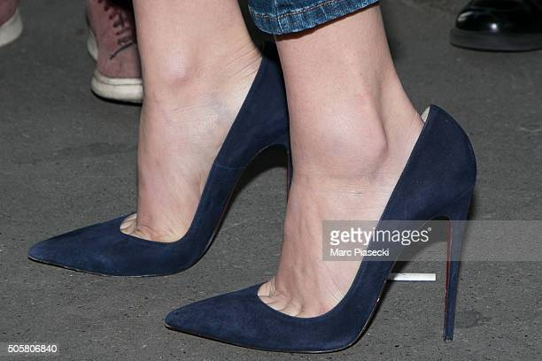 Actress Chloe G Moretz shoe detail arrives at 'Fun Radio' station on January 20 2016 in Paris France