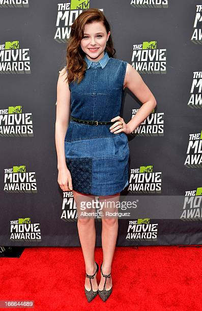 Actress Chloe Grace Moretz arrives at the 2013 MTV Movie Awards at Sony Pictures Studios on April 14 2013 in Culver City California