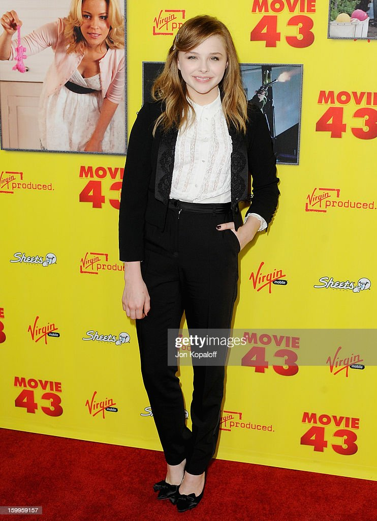 Actress Chloe Grace Moretz arrives at the Los Angeles Premiere 'Movie 43' at Grauman's Chinese Theatre on January 23, 2013 in Hollywood, California.