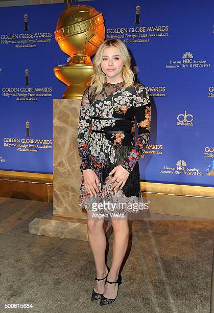 Actress Chloe Grace Moretz attends the 73rd Annual Golden Globe Awards nominations announcement at The Beverly Hilton Hotel on December 10 2015 in...