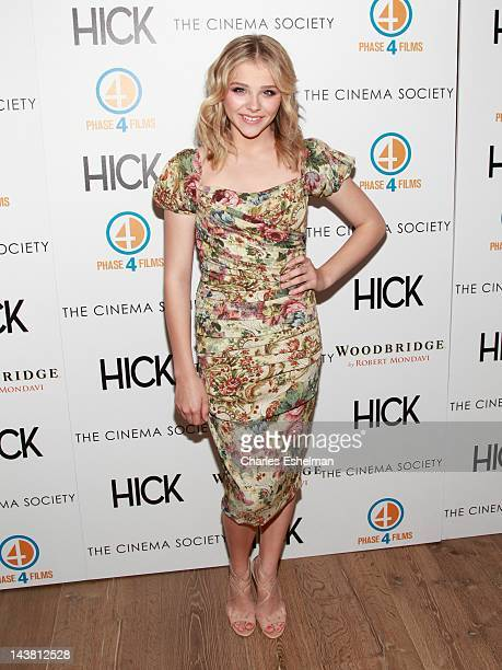 """Actress Chloe Grace Moretz attends The Cinema Society & Phase 4 Films screening of """"Hick"""" at the Crosby Street Hotel on May 3, 2012 in New York City."""