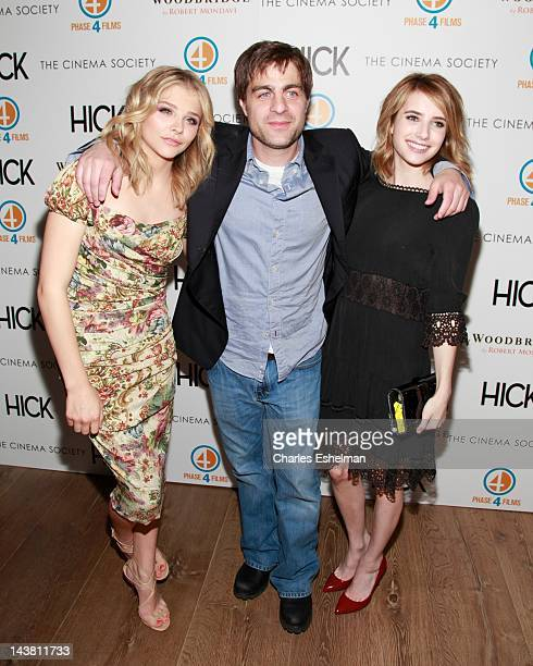 Actress Chloe Grace Moretz director Derick Martini and actress Emma Roberts attend The Cinema Society Phase 4 Films screening of Hick at the Crosby...