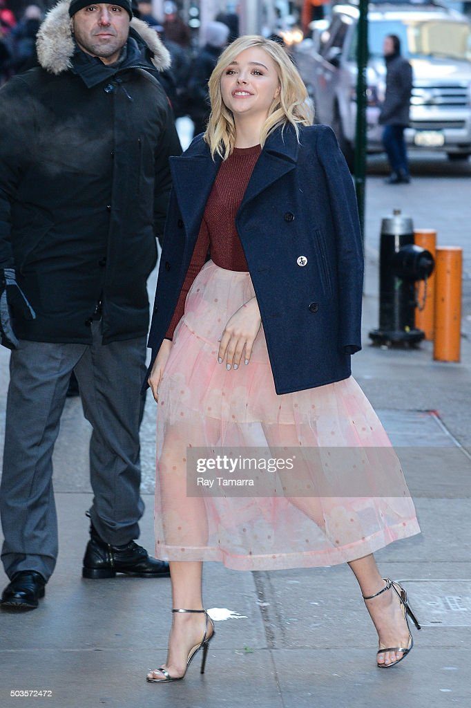 Actress Chloe Grace Moretz enters the 'Good Morning America' taping at the ABC Times Square Studios on January 5, 2016 in New York City.