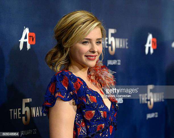 Actress Chloe Grace Moretz poses during the AwesomenessTV special fan screening of The 5th Wave at Pacific Theatre at The Grove January 14 2016 in...