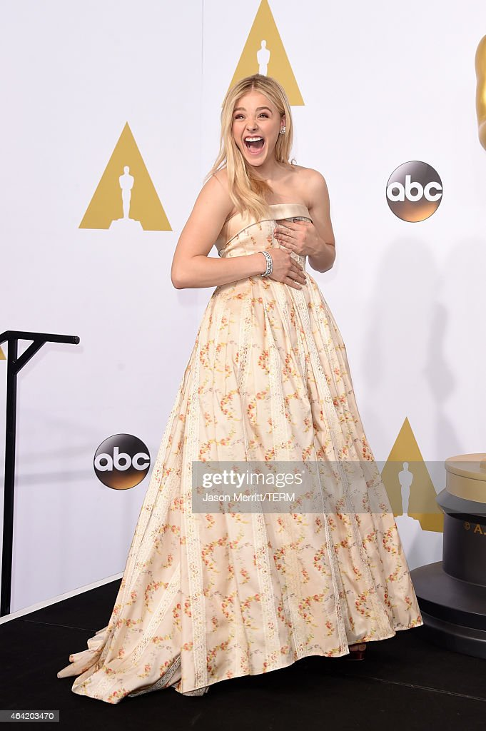 Actress Chloe Grace Moretz poses in the press room during the 87th Annual Academy Awards at Loews Hollywood Hotel on February 22, 2015 in Hollywood, California.