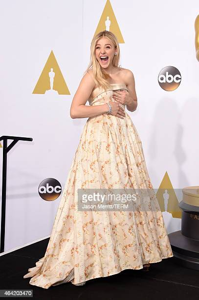 Actress Chloe Grace Moretz poses in the press room during the 87th Annual Academy Awards at Loews Hollywood Hotel on February 22 2015 in Hollywood...