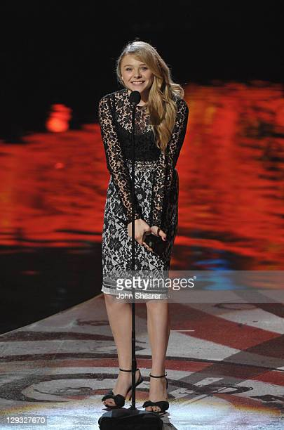 """Actress Chloe Grace Moretz speaks onstage at Spike TV's """"SCREAM 2011"""" awards held at the Universal Studios Backlot on October 15, 2011 in Universal..."""