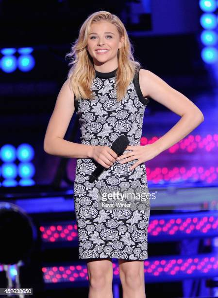 Actress Chloe Grace Moretz speaks onstage at the MTVu Fandom Awards during Comic-Con International 2014 at PETCO Park on July 24, 2014 in San Diego,...