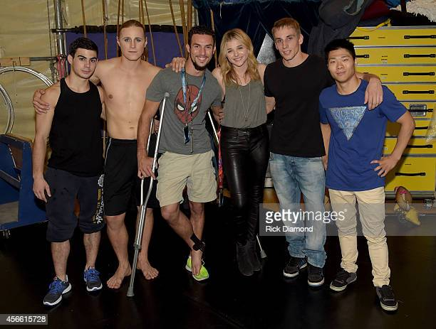 "Actress Chloe Grace Moretz, ""The Equalizer"" chats with performers backstage after Amaluna's opening night at the Big Top at Atlantic Station on..."