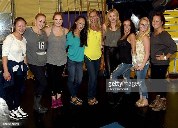 Actress Chloe Grace Moretz The Equalizer chats with performers backstage after Amaluna's opening night at the Big Top at Atlantic Station on October...