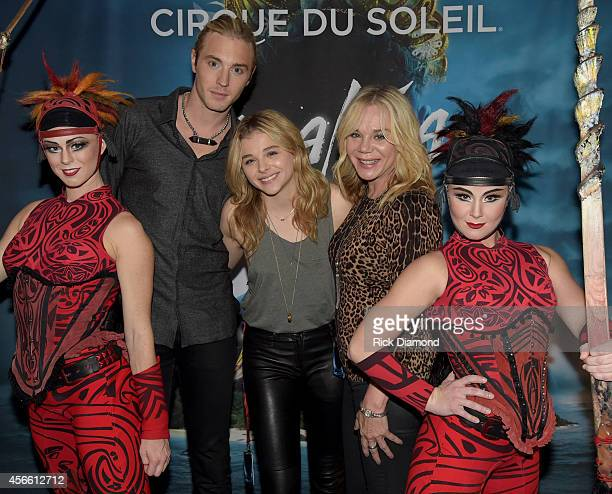 "Actress Chloe Grace Moretz, ""The Equalizer"" with brother Trevor Moretz and mother Terri Moretz attend Amaluna opening night at the Big Top at..."