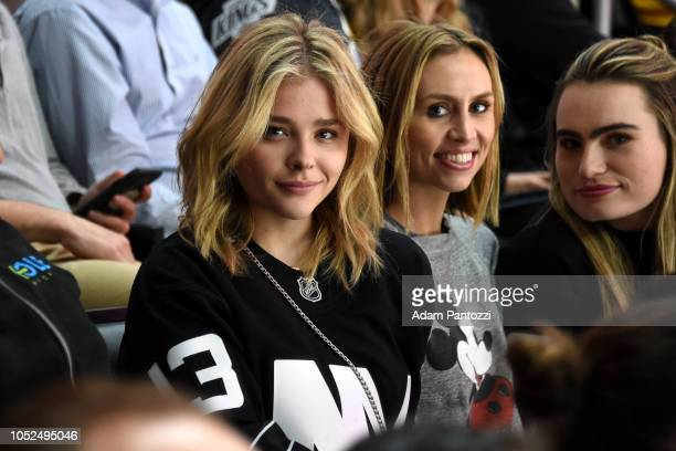 Actress Chloe Grace Moretz watches the game between the New York Islanders and the Los Angeles Kings at STAPLES Center on October 18 2018 in Los...