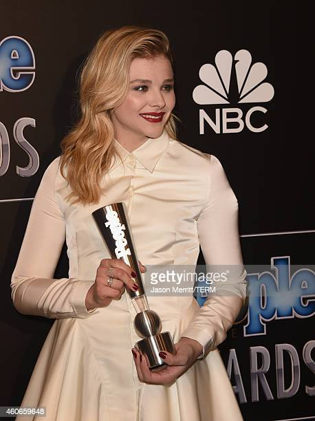 Actress Chloe Grace Moretz winner of Next Generation Star poses in the press room during the PEOPLE Magazine Awards at The Beverly Hilton Hotel on...