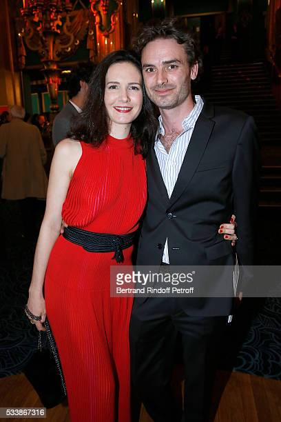 Actress Chloe Lambert and her companion Director Thibault Ameline attend La 28eme Nuit des Molieres on May 23 2016 in Paris France