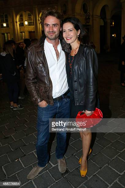 Actress Chloe Lambert and her companion Director Thibault Ameline attend 'Le Mensonge' : Theater Play. Held at Theatre Edouard VII on September 14,...