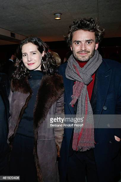 Actress Chloe Lambert and her husband producer Thibault Ameline attend 'La Maison d'a cote' Theater Play at Theatre du Petit Saint Martin on January...