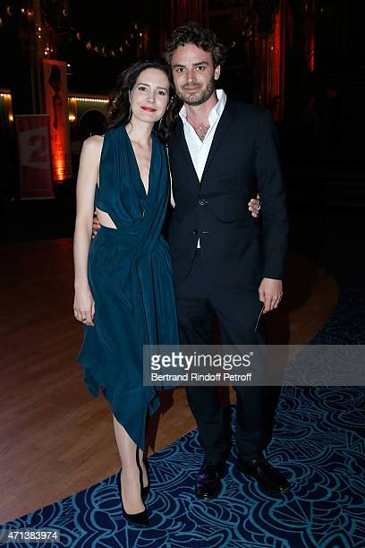 Actress Chloe Lambert and her husband producer Thibault Ameline attend the 27th 'Nuit Des Molieres' 2015 Held at Folies Bergere on April 27 2015 in...