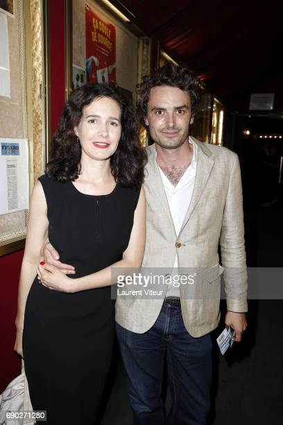 Actress Chloe Lambert and her Partner Director Thibault Ameline attend Ca Coule de Source Theater Play at Theatre de la Gaite Montparnasse on May 30...