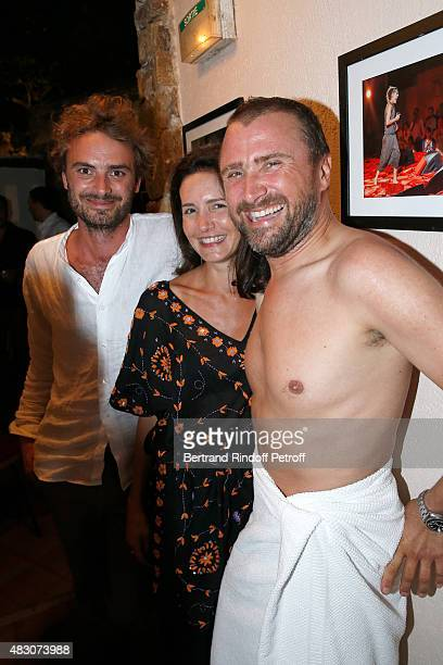 Actress Chloe Lambert standing between and her companion Director Thibault Ameline and Actor of the Piece Alexandre Brasseur pose Backstage after the...