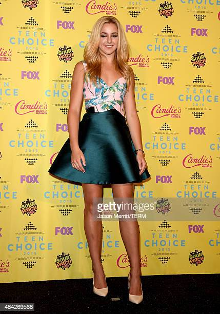 Actress Chloe Lukasiak winner of the Choice Dancer Award poses in the press room during the Teen Choice Awards 2015 at the USC Galen Center on August...